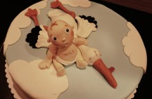 Torte Motivtorte Baby erwürgt Storch Fondant Geburt